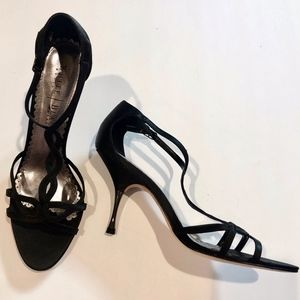 Black Pumps / Sandals with Black and Silver Heels
